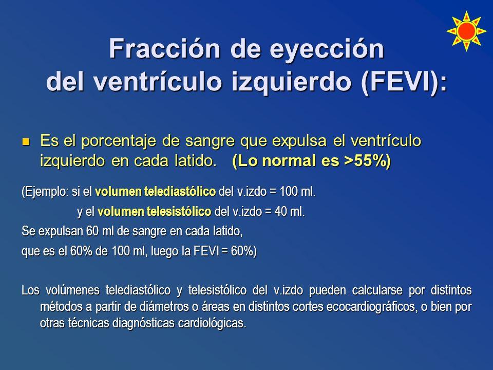 Fracción de eyección del ventrículo izquierdo (FEVI): Es el porcentaje de sangre que expulsa el ventrículo izquierdo en cada latido. (Lo normal es >55