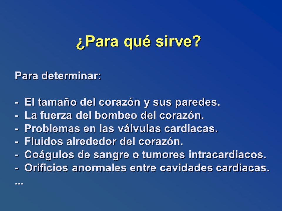 ¿Para qué sirve? Para determinar: - El tamaño del corazón y sus paredes. - La fuerza del bombeo del corazón. - Problemas en las válvulas cardiacas. -