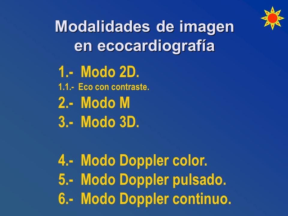 Modalidades de imagen en ecocardiografía 1.- Modo 2D. 1.1.- Eco con contraste. 2.- Modo M 3.- Modo 3D. 4.- Modo Doppler color. 5.- Modo Doppler pulsad
