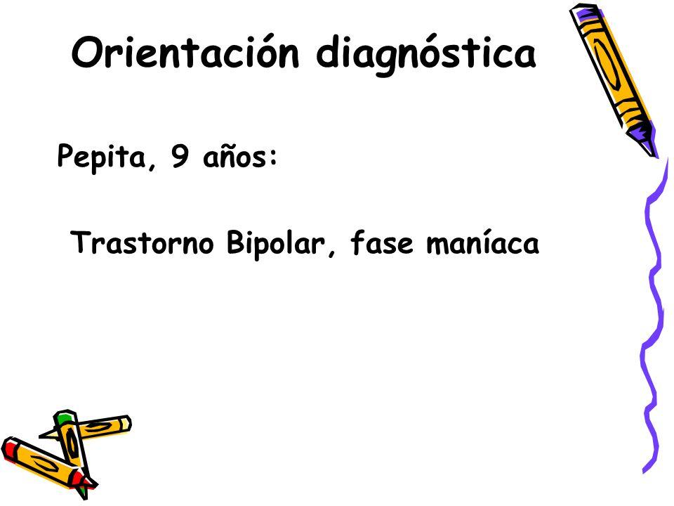 Orientación diagnóstica Pepita, 9 años: Trastorno Bipolar, fase maníaca