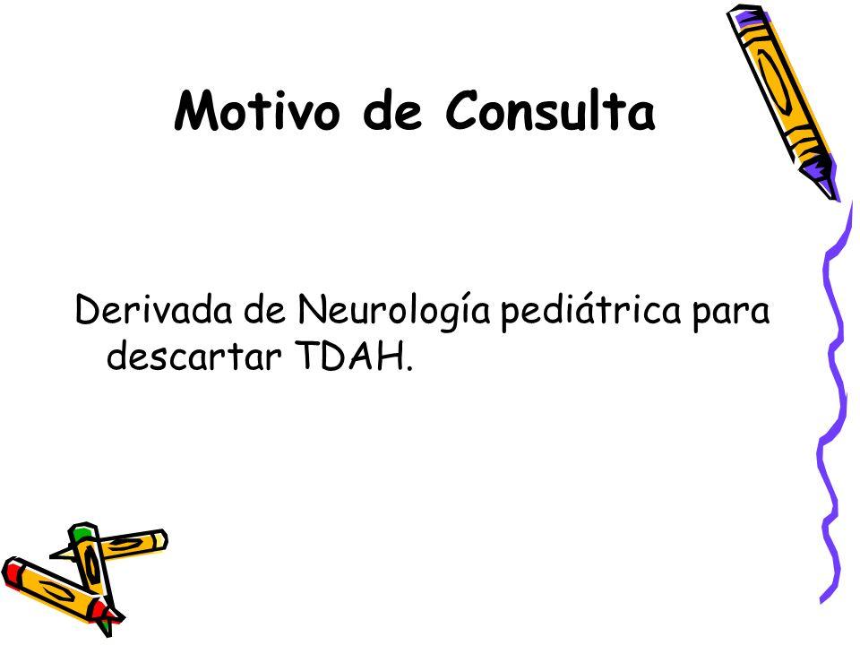 Motivo de Consulta Derivada de Neurología pediátrica para descartar TDAH.