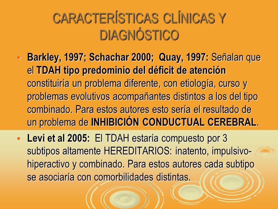 CARACTERÍSTICAS CLÍNICAS Y DIAGNÓSTICO Barkley, 1997; Schachar 2000; Quay, 1997: Señalan que el TDAH tipo predominio del déficit de atención constituiría un problema diferente, con etiología, curso y problemas evolutivos acompañantes distintos a los del tipo combinado.