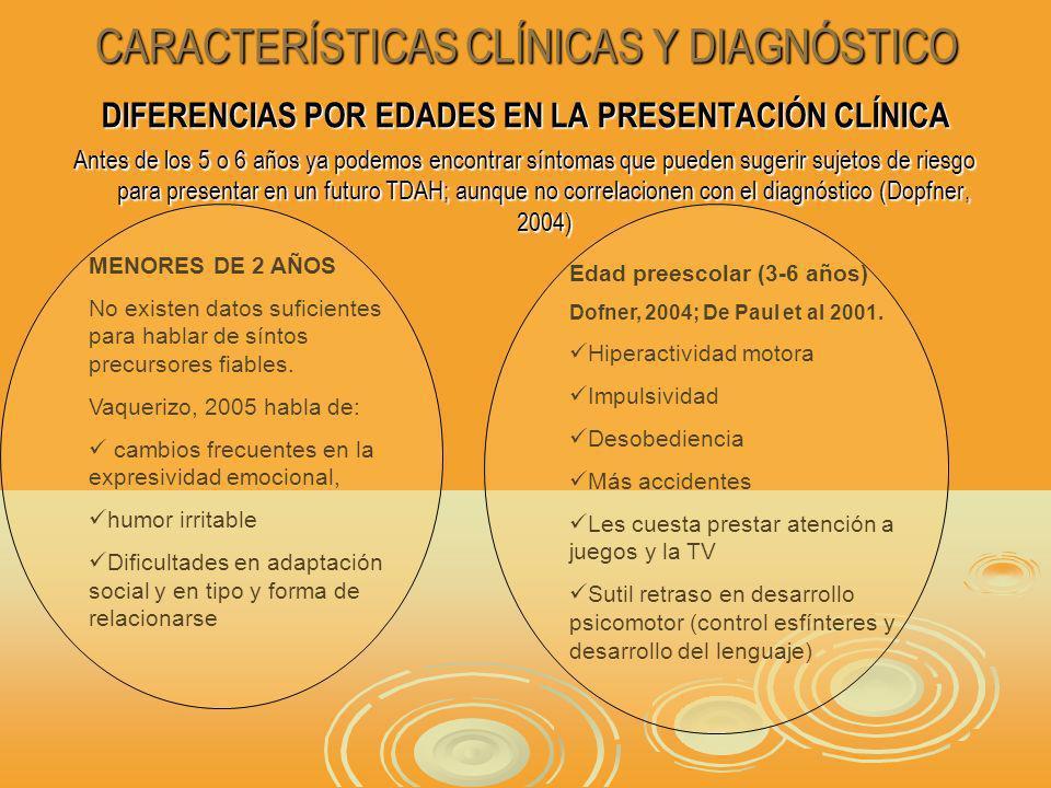 CARACTERÍSTICAS CLÍNICAS Y DIAGNÓSTICO DIFERENCIAS POR EDADES EN LA PRESENTACIÓN CLÍNICA Antes de los 5 o 6 años ya podemos encontrar síntomas que pueden sugerir sujetos de riesgo para presentar en un futuro TDAH; aunque no correlacionen con el diagnóstico (Dopfner, 2004) MENORES DE 2 AÑOS No existen datos suficientes para hablar de síntos precursores fiables.
