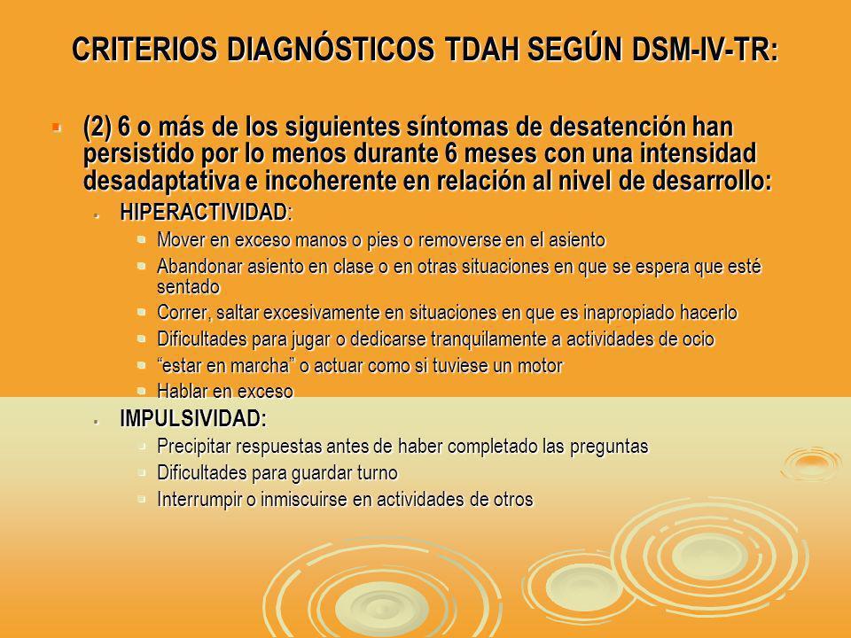 CRITERIOS DIAGNÓSTICOS TDAH SEGÚN DSM-IV-TR: (2) 6 o más de los siguientes síntomas de desatención han persistido por lo menos durante 6 meses con una intensidad desadaptativa e incoherente en relación al nivel de desarrollo: (2) 6 o más de los siguientes síntomas de desatención han persistido por lo menos durante 6 meses con una intensidad desadaptativa e incoherente en relación al nivel de desarrollo: HIPERACTIVIDAD : HIPERACTIVIDAD : Mover en exceso manos o pies o removerse en el asiento Mover en exceso manos o pies o removerse en el asiento Abandonar asiento en clase o en otras situaciones en que se espera que esté sentado Abandonar asiento en clase o en otras situaciones en que se espera que esté sentado Correr, saltar excesivamente en situaciones en que es inapropiado hacerlo Correr, saltar excesivamente en situaciones en que es inapropiado hacerlo Dificultades para jugar o dedicarse tranquilamente a actividades de ocio Dificultades para jugar o dedicarse tranquilamente a actividades de ocio estar en marcha o actuar como si tuviese un motor estar en marcha o actuar como si tuviese un motor Hablar en exceso Hablar en exceso IMPULSIVIDAD: IMPULSIVIDAD: Precipitar respuestas antes de haber completado las preguntas Precipitar respuestas antes de haber completado las preguntas Dificultades para guardar turno Dificultades para guardar turno Interrumpir o inmiscuirse en actividades de otros Interrumpir o inmiscuirse en actividades de otros