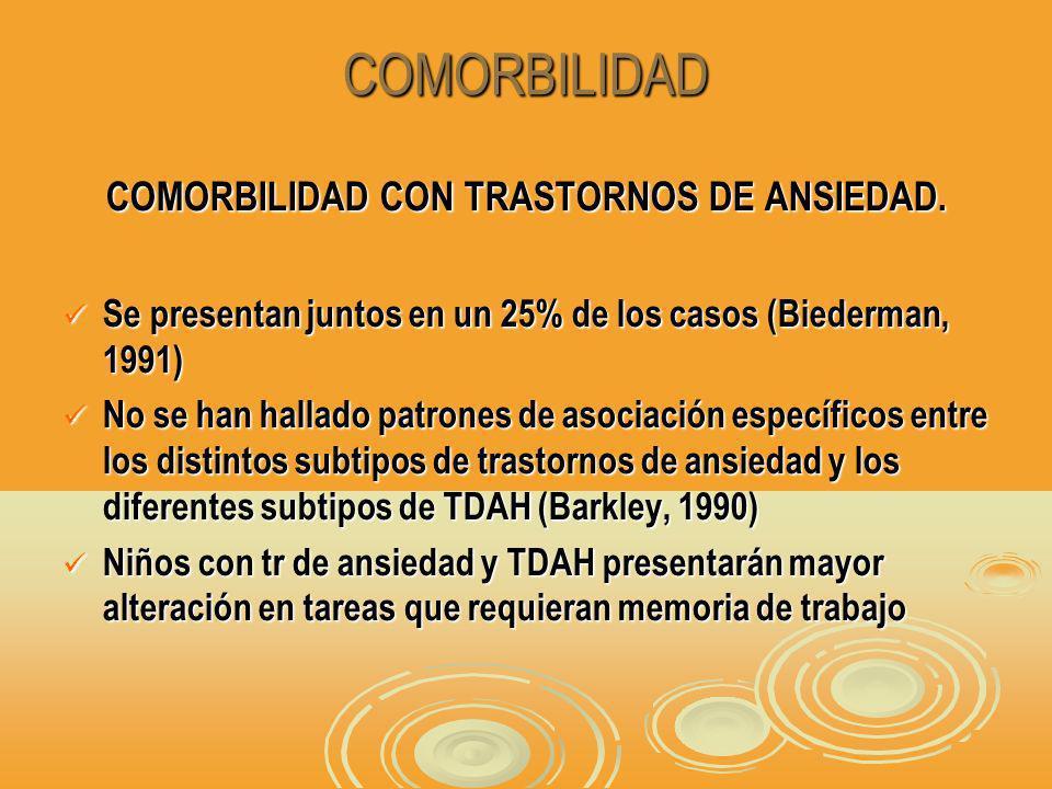 COMORBILIDAD COMORBILIDAD CON TRASTORNOS DE ANSIEDAD.