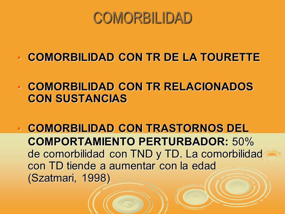 COMORBILIDAD COMORBILIDAD CON TR DE LA TOURETTE COMORBILIDAD CON TR DE LA TOURETTE COMORBILIDAD CON TR RELACIONADOS CON SUSTANCIAS COMORBILIDAD CON TR RELACIONADOS CON SUSTANCIAS COMORBILIDAD CON TRASTORNOS DEL COMPORTAMIENTO PERTURBADOR: 50% de comorbilidad con TND y TD.