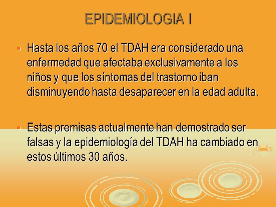 EPIDEMIOLOGIA I Hasta los años 70 el TDAH era considerado una enfermedad que afectaba exclusivamente a los niños y que los síntomas del trastorno iban disminuyendo hasta desaparecer en la edad adulta.