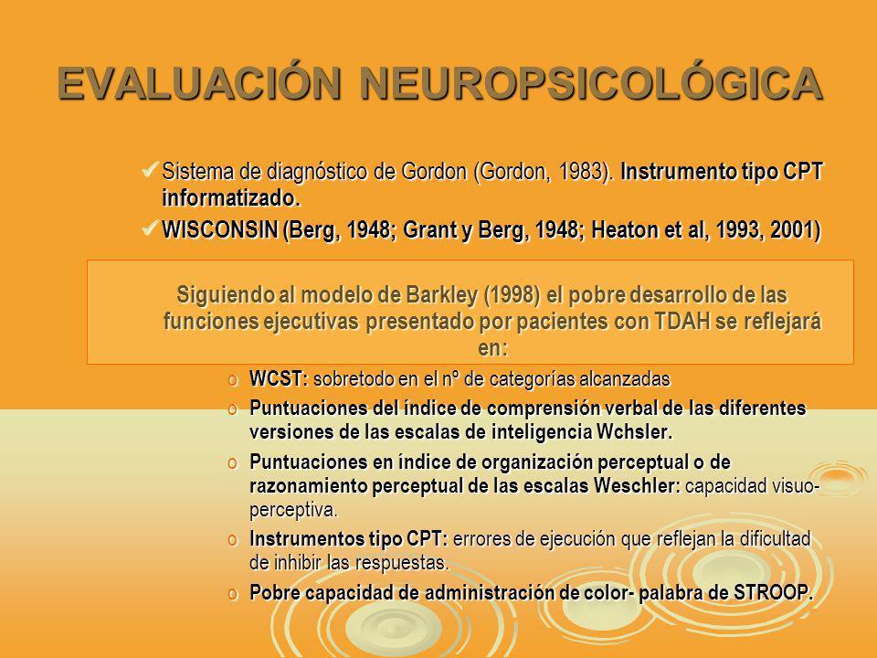 EVALUACIÓN NEUROPSICOLÓGICA Sistema de diagnóstico de Gordon (Gordon, 1983).