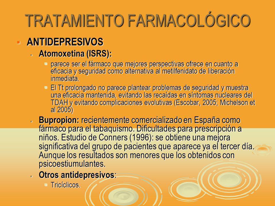 TRATAMIENTO FARMACOLÓGICO ANTIDEPRESIVOS ANTIDEPRESIVOS Atomoxetina (ISRS): Atomoxetina (ISRS): parece ser el fármaco que mejores perspectivas ofrece en cuanto a eficacia y seguridad como alternativa al metilfenidato de liberación inmediata.