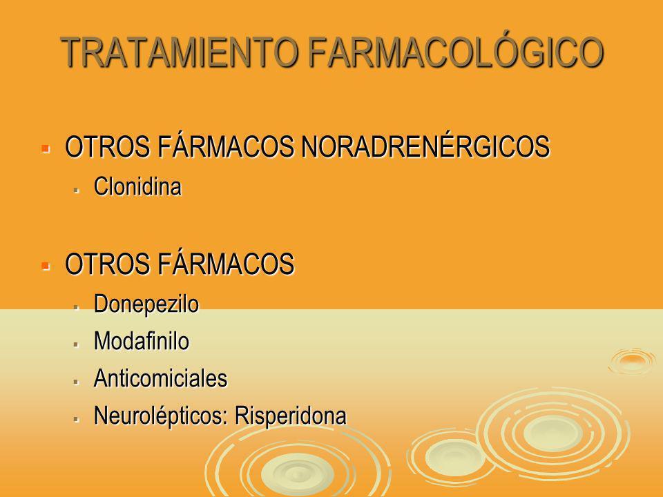 TRATAMIENTO FARMACOLÓGICO OTROS FÁRMACOS NORADRENÉRGICOS OTROS FÁRMACOS NORADRENÉRGICOS Clonidina Clonidina OTROS FÁRMACOS OTROS FÁRMACOS Donepezilo Donepezilo Modafinilo Modafinilo Anticomiciales Anticomiciales Neurolépticos: Risperidona Neurolépticos: Risperidona