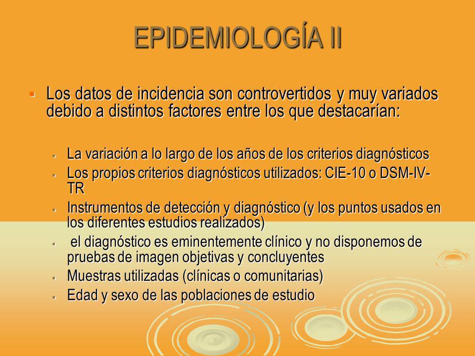 EPIDEMIOLOGÍA II Los datos de incidencia son controvertidos y muy variados debido a distintos factores entre los que destacarían: Los datos de incidencia son controvertidos y muy variados debido a distintos factores entre los que destacarían: La variación a lo largo de los años de los criterios diagnósticos La variación a lo largo de los años de los criterios diagnósticos Los propios criterios diagnósticos utilizados: CIE-10 o DSM-IV- TR Los propios criterios diagnósticos utilizados: CIE-10 o DSM-IV- TR Instrumentos de detección y diagnóstico (y los puntos usados en los diferentes estudios realizados) Instrumentos de detección y diagnóstico (y los puntos usados en los diferentes estudios realizados) el diagnóstico es eminentemente clínico y no disponemos de pruebas de imagen objetivas y concluyentes el diagnóstico es eminentemente clínico y no disponemos de pruebas de imagen objetivas y concluyentes Muestras utilizadas (clínicas o comunitarias) Muestras utilizadas (clínicas o comunitarias) Edad y sexo de las poblaciones de estudio Edad y sexo de las poblaciones de estudio