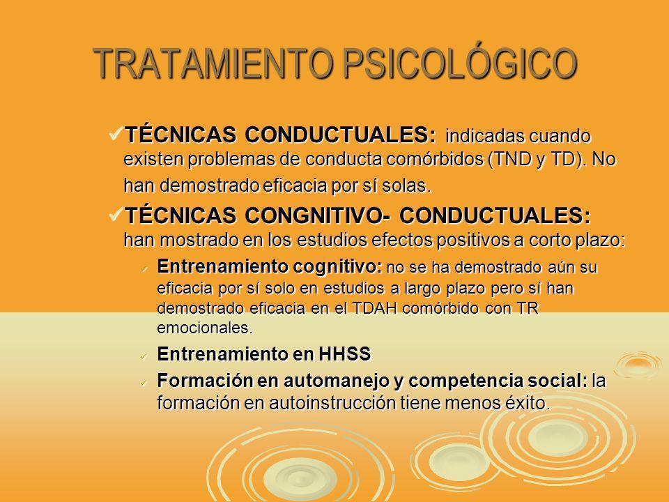 TRATAMIENTO PSICOLÓGICO TÉCNICAS CONDUCTUALES: indicadas cuando existen problemas de conducta comórbidos (TND y TD).