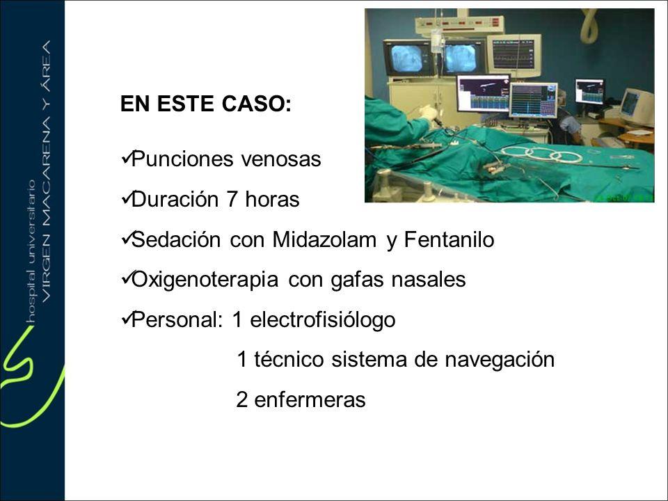 EN ESTE CASO: Punciones venosas Duración 7 horas Sedación con Midazolam y Fentanilo Oxigenoterapia con gafas nasales Personal: 1 electrofisiólogo 1 té