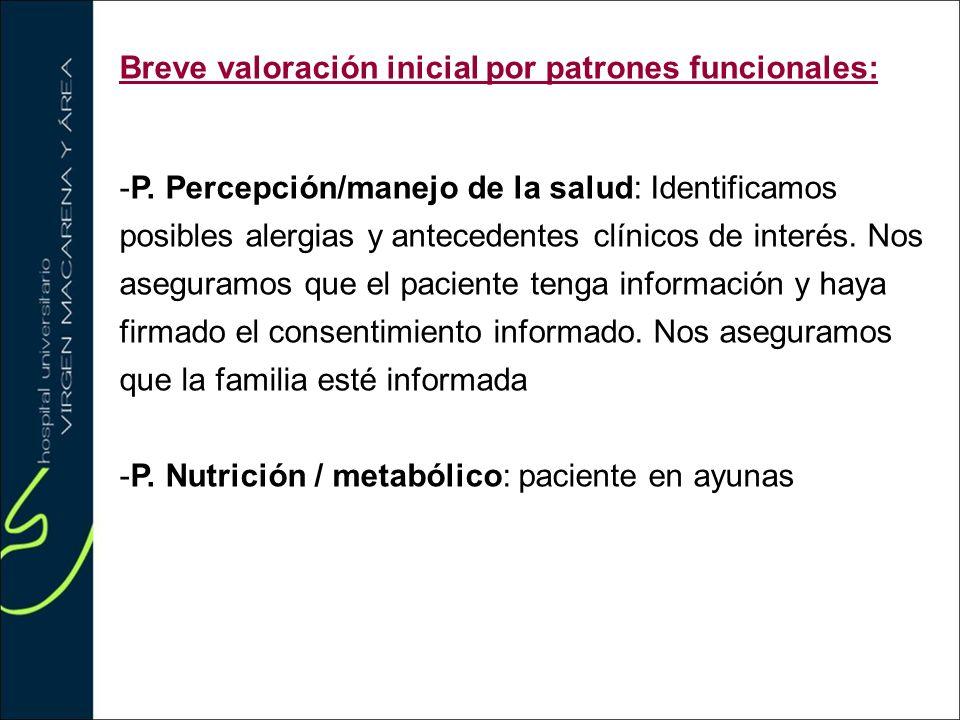 Breve valoración inicial por patrones funcionales: -P. Percepción/manejo de la salud: Identificamos posibles alergias y antecedentes clínicos de inter