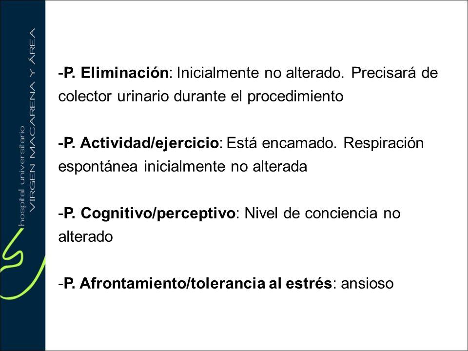 -P. Eliminación: Inicialmente no alterado. Precisará de colector urinario durante el procedimiento -P. Actividad/ejercicio: Está encamado. Respiración
