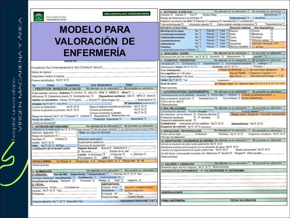 MODELO PARA VALORACIÓN DE ENFERMERÍA