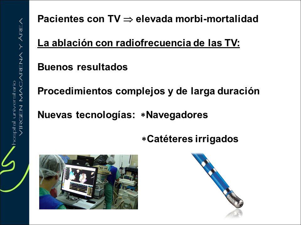 Pacientes con TV elevada morbi-mortalidad La ablación con radiofrecuencia de las TV: Buenos resultados Procedimientos complejos y de larga duración Nu