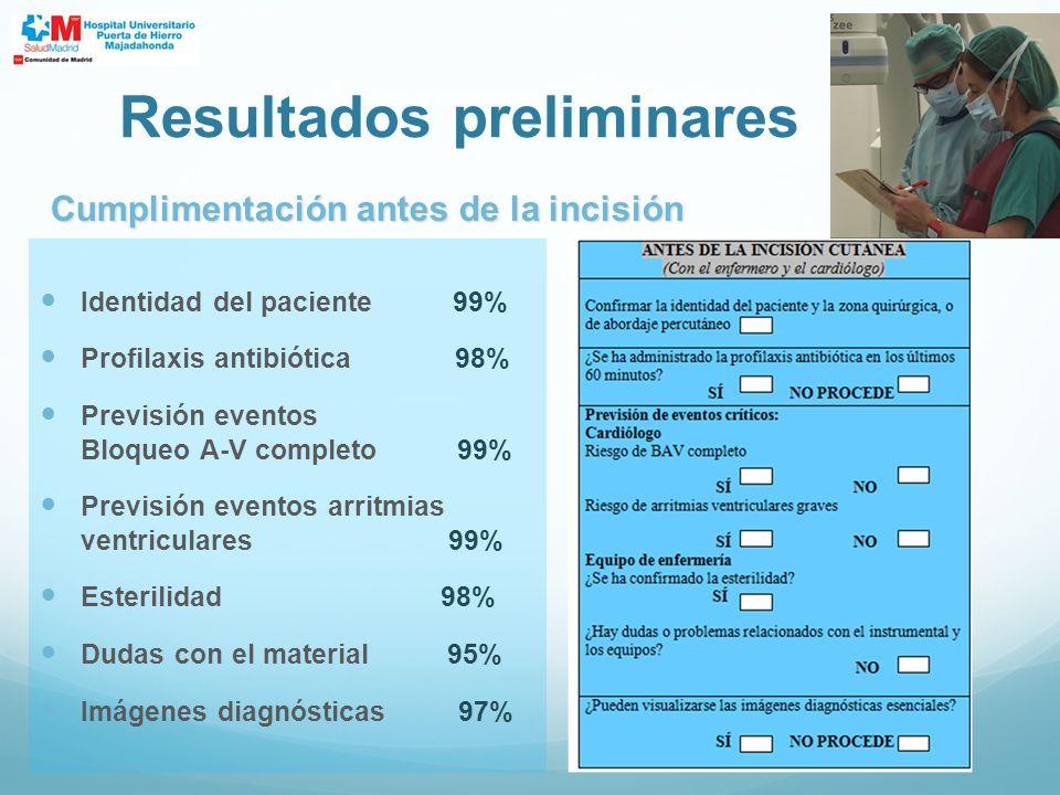 Identidad del paciente 99% Profilaxis antibiótica 98% Previsión eventos Bloqueo A-V completo 99% Previsión eventos arritmias ventriculares 99% Esteril