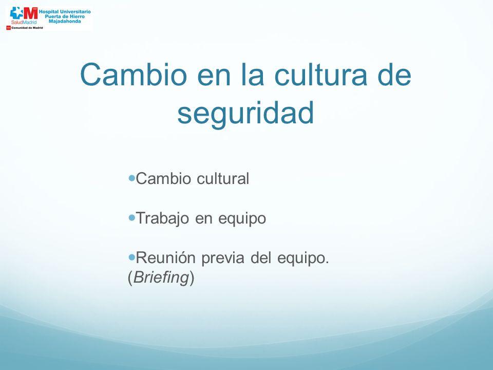 Cambio en la cultura de seguridad Cambio cultural Trabajo en equipo Reunión previa del equipo. (Briefing)