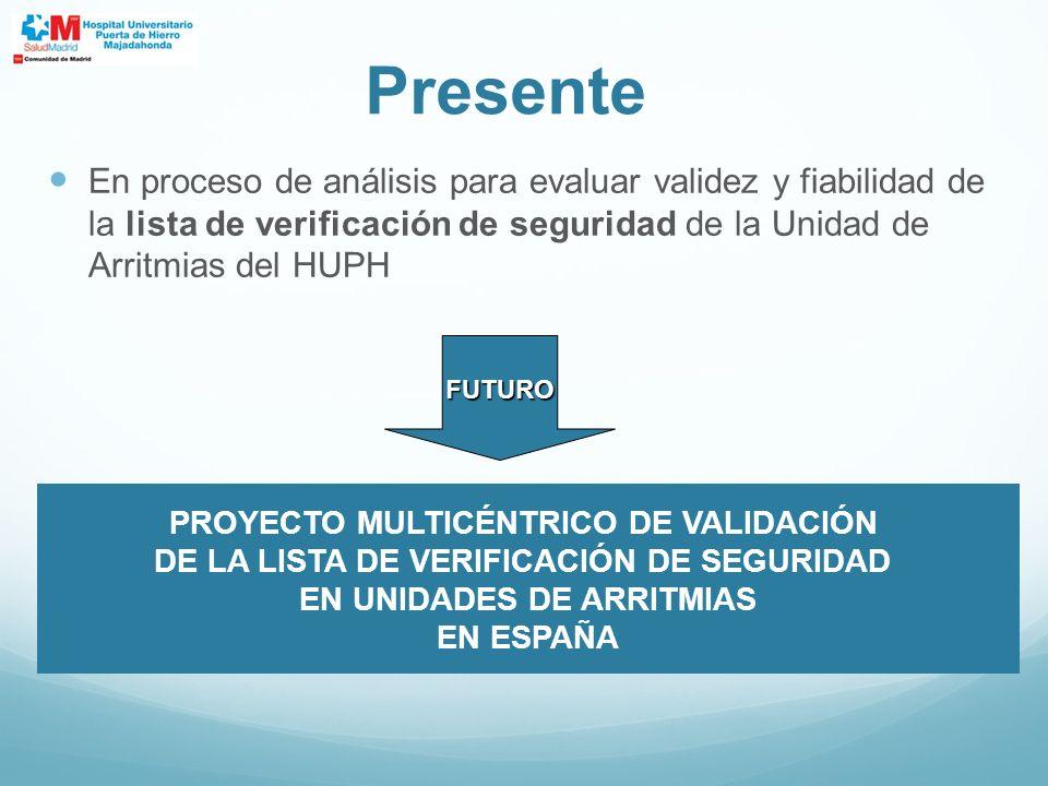 En proceso de análisis para evaluar validez y fiabilidad de la lista de verificación de seguridad de la Unidad de Arritmias del HUPH Presente FUTURO P