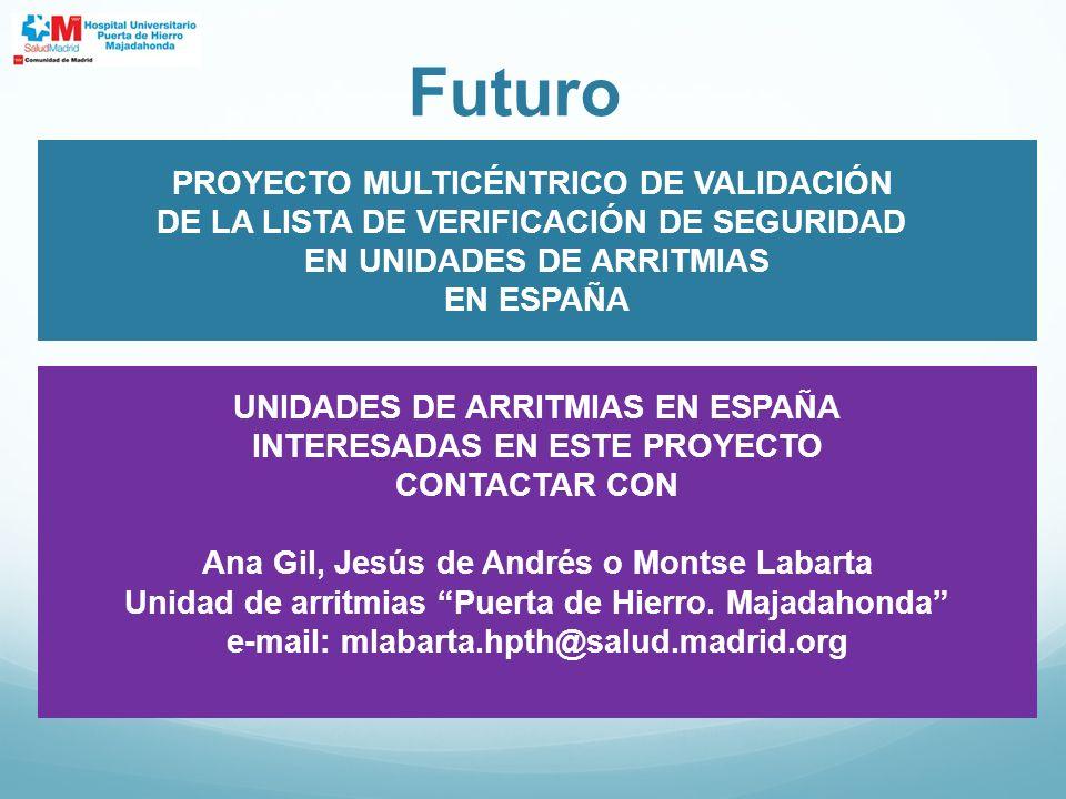Futuro PROYECTO MULTICÉNTRICO DE VALIDACIÓN DE LA LISTA DE VERIFICACIÓN DE SEGURIDAD EN UNIDADES DE ARRITMIAS EN ESPAÑA UNIDADES DE ARRITMIAS EN ESPAÑ