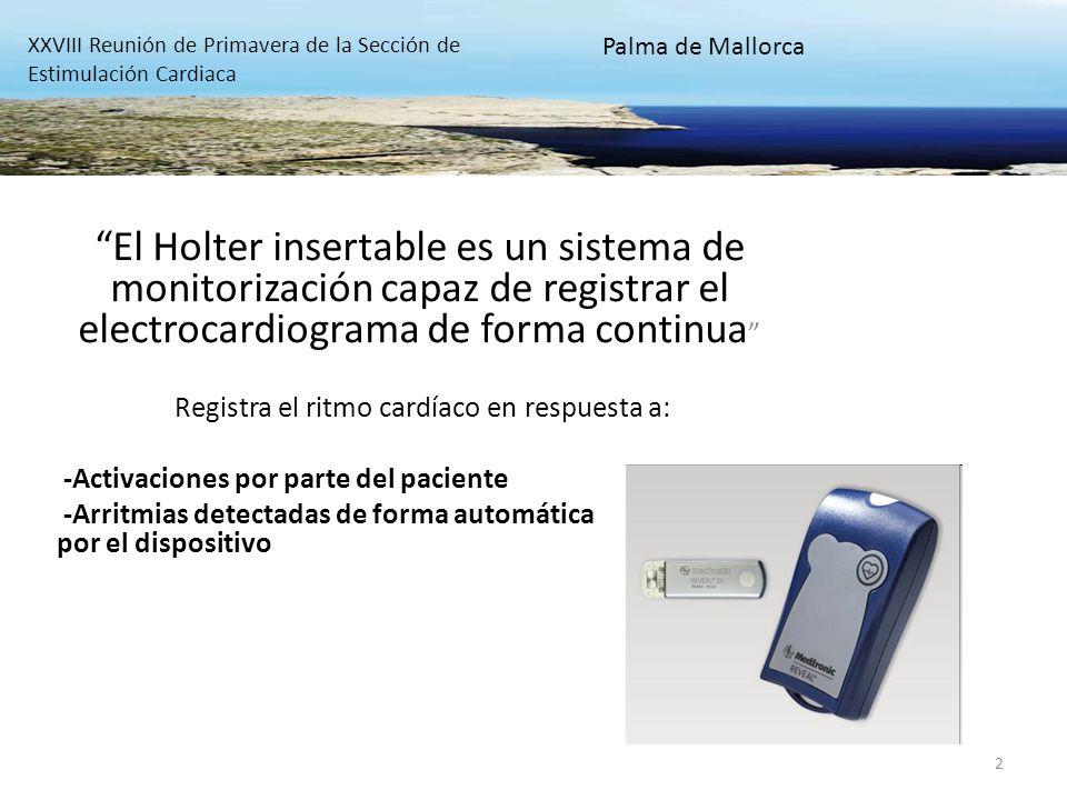 Indicaciones principales del Holter insertable: -Estudio del síncope de origen desconocido -Pacientes con elevada posibilidad de sufrir eventos arrítmicos graves XXVIII Reunión de Primavera de la Sección de Estimulación Cardiaca Palma de Mallorca