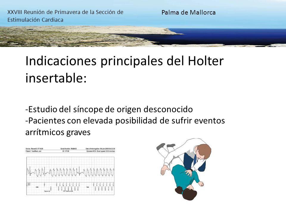 Indicaciones principales del Holter insertable: -Estudio del síncope de origen desconocido -Pacientes con elevada posibilidad de sufrir eventos arrítm