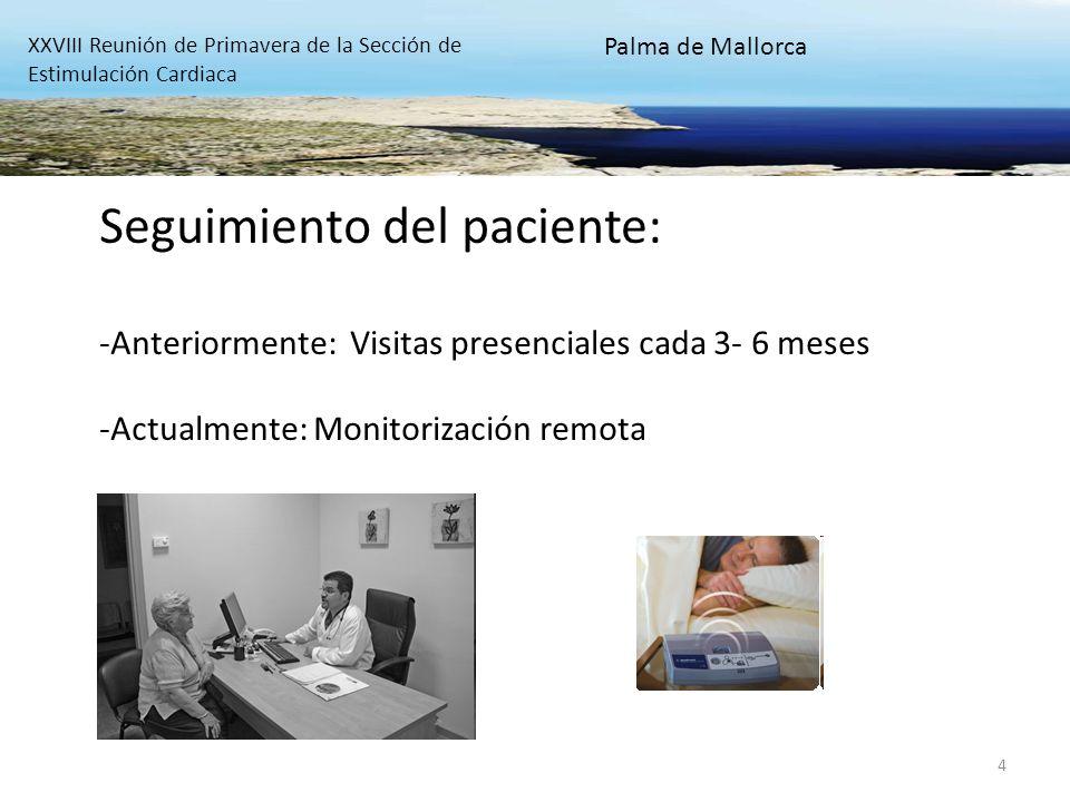 4 Seguimiento del paciente: -Anteriormente: Visitas presenciales cada 3- 6 meses -Actualmente: Monitorización remota XXVIII Reunión de Primavera de la