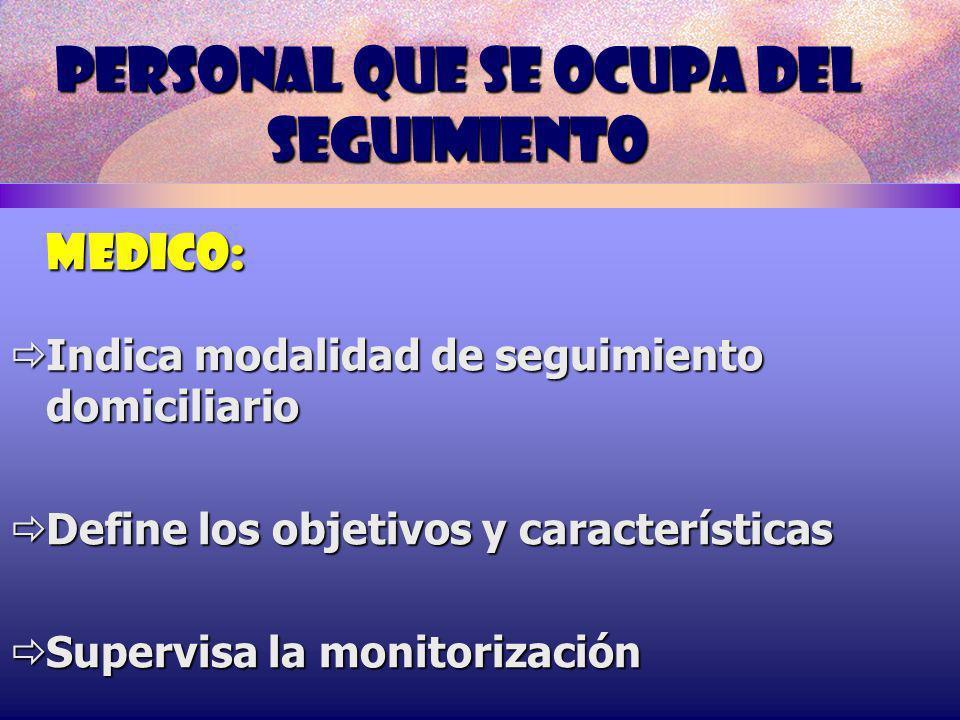 PERSONAL QUE SE OCUPA DEL SEGUIMIENTO MEDICO: Indica modalidad de seguimiento domiciliario Indica modalidad de seguimiento domiciliario Define los obj