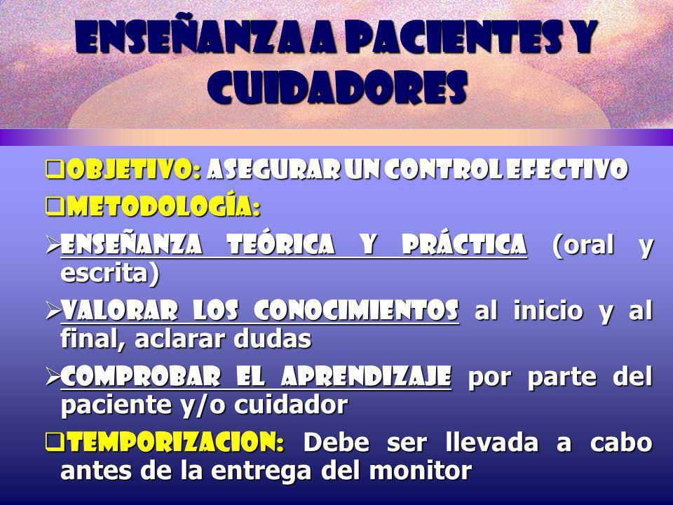 ENSEÑANZA A PACIENTES Y CUIDADORES OBJETIVO: Asegurar un control efectivo OBJETIVO: Asegurar un control efectivo METODOLOGÍA: METODOLOGÍA: Enseñanza t