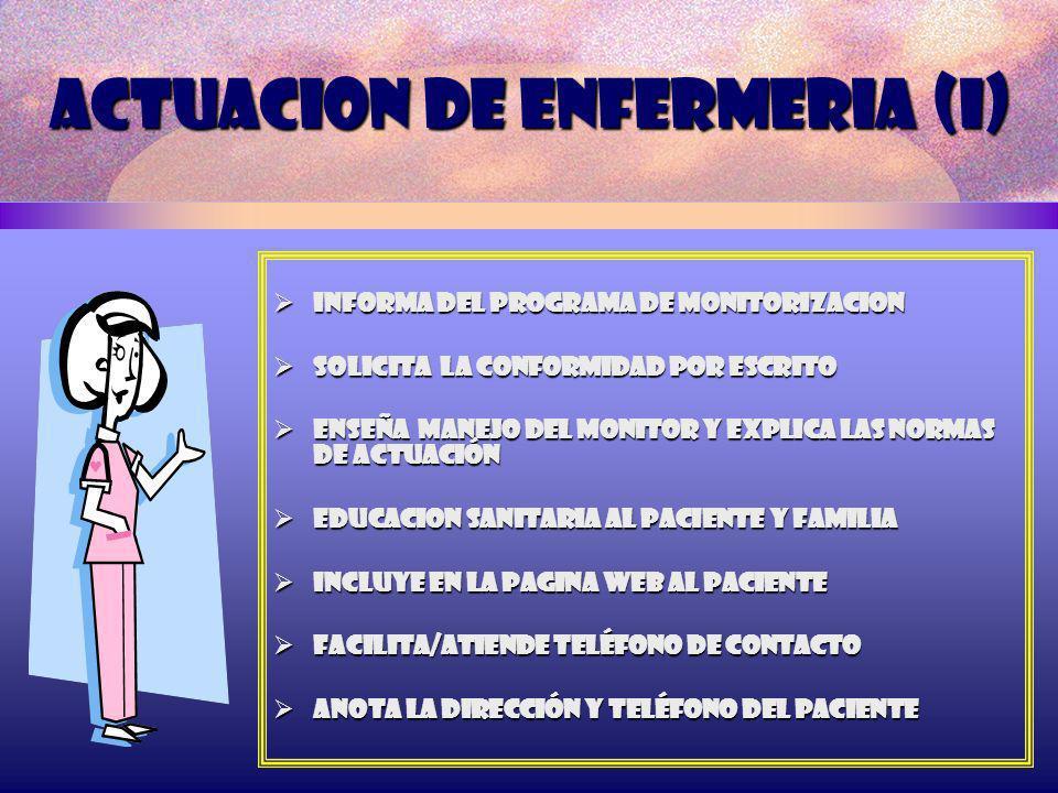 ACTUACION DE ENFERMERIA (I) INFORMA DEL PROGRAMA DE MONITORIZACION INFORMA DEL PROGRAMA DE MONITORIZACION Solicita LA CONFORMIDAD POR ESCRITO Solicita