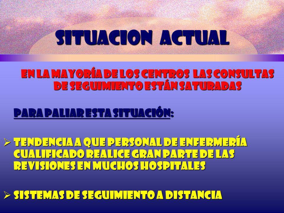 SITUACION ACTUAL En la mayoría de los centros las Consultas de seguimiento están saturadas Para paliar esta situación: Tendencia a que personal de enf