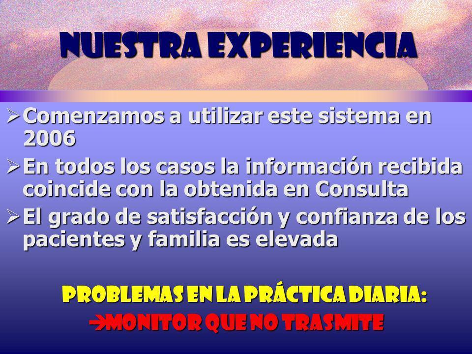 NUESTRA EXPERIENCIA Comenzamos a utilizar este sistema en 2006 Comenzamos a utilizar este sistema en 2006 En todos los casos la información recibida c