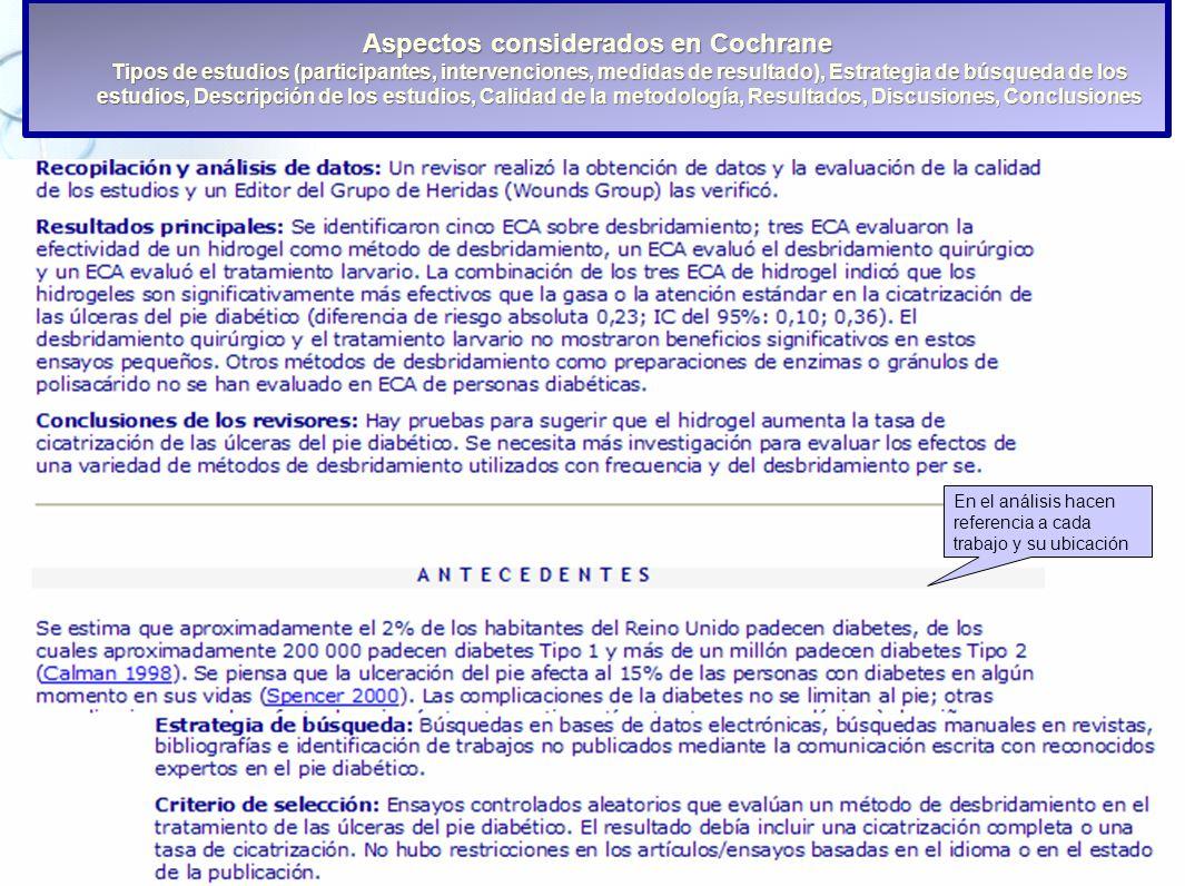 26 Aspectos considerados en Cochrane Tipos de estudios (participantes, intervenciones, medidas de resultado), Estrategia de búsqueda de los estudios,