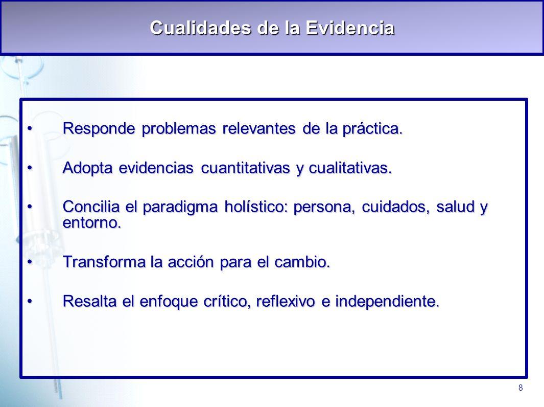 8 Cualidades de la Evidencia Responde problemas relevantes de la práctica.Responde problemas relevantes de la práctica. Adopta evidencias cuantitativa