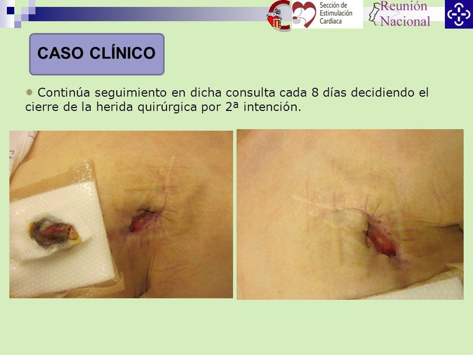 Continúa seguimiento en dicha consulta cada 8 días decidiendo el cierre de la herida quirúrgica por 2ª intención. CASO CLÍNICO