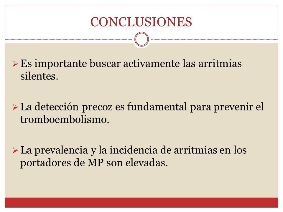 CONCLUSIONES Es importante buscar activamente las arritmias silentes. La detección precoz es fundamental para prevenir el tromboembolismo. La prevalen