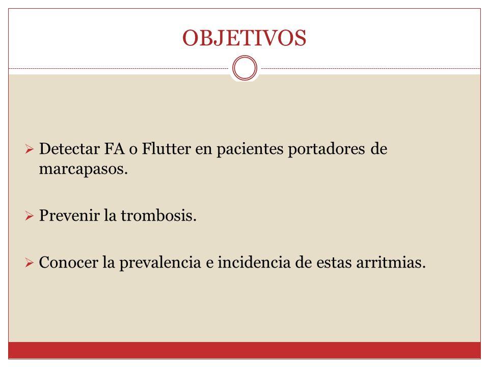 OBJETIVOS Detectar FA o Flutter en pacientes portadores de marcapasos. Prevenir la trombosis. Conocer la prevalencia e incidencia de estas arritmias.