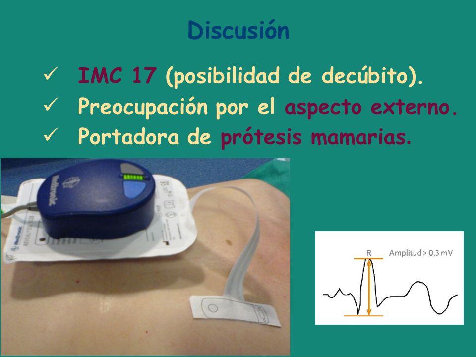 Discusión IMC 17 (posibilidad de decúbito). Preocupación por el aspecto externo. Portadora de prótesis mamarias.
