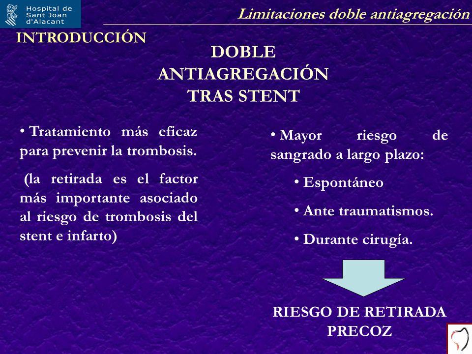 Limitaciones doble antiagregación DOBLE ANTIAGREGACIÓN TRAS STENT Tratamiento más eficaz para prevenir la trombosis. (la retirada es el factor más imp