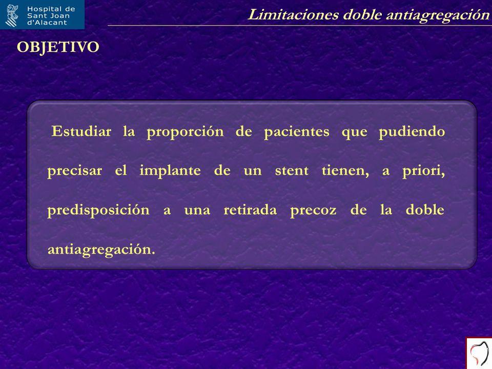 Limitaciones doble antiagregación OBJETIVO Estudiar la proporción de pacientes que pudiendo precisar el implante de un stent tienen, a priori, predisp