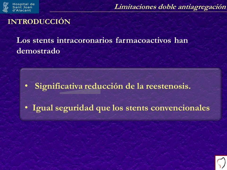 Limitaciones doble antiagregación INTRODUCCIÓN Los stents intracoronarios farmacoactivos han demostrado Significativa reducción de la reestenosis. Igu
