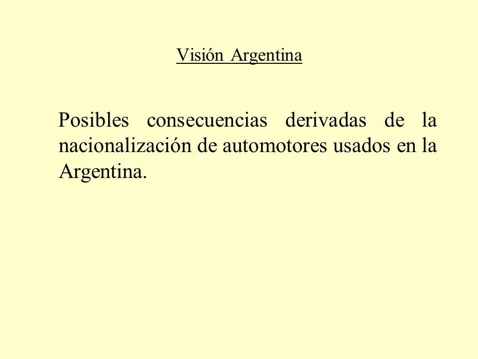 Visión Argentina Posibles consecuencias derivadas de la nacionalización de automotores usados en la Argentina.