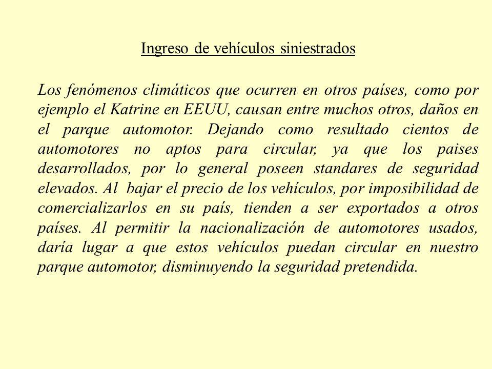 Ingreso de vehículos siniestrados Los fenómenos climáticos que ocurren en otros países, como por ejemplo el Katrine en EEUU, causan entre muchos otros, daños en el parque automotor.