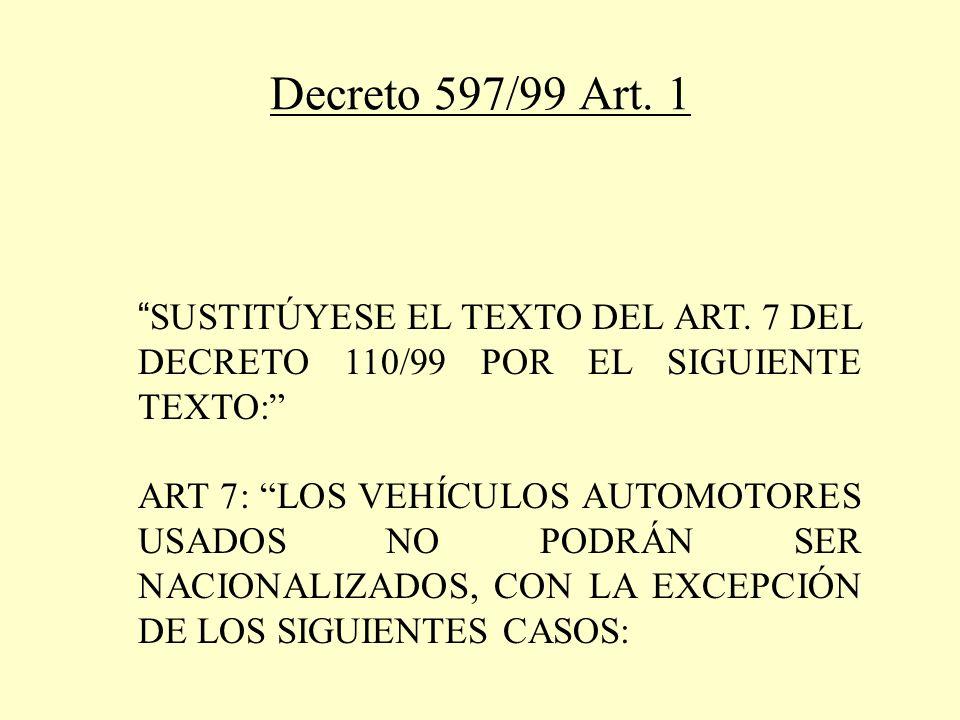 Decreto 597/99 Art. 1 SUSTITÚYESE EL TEXTO DEL ART.