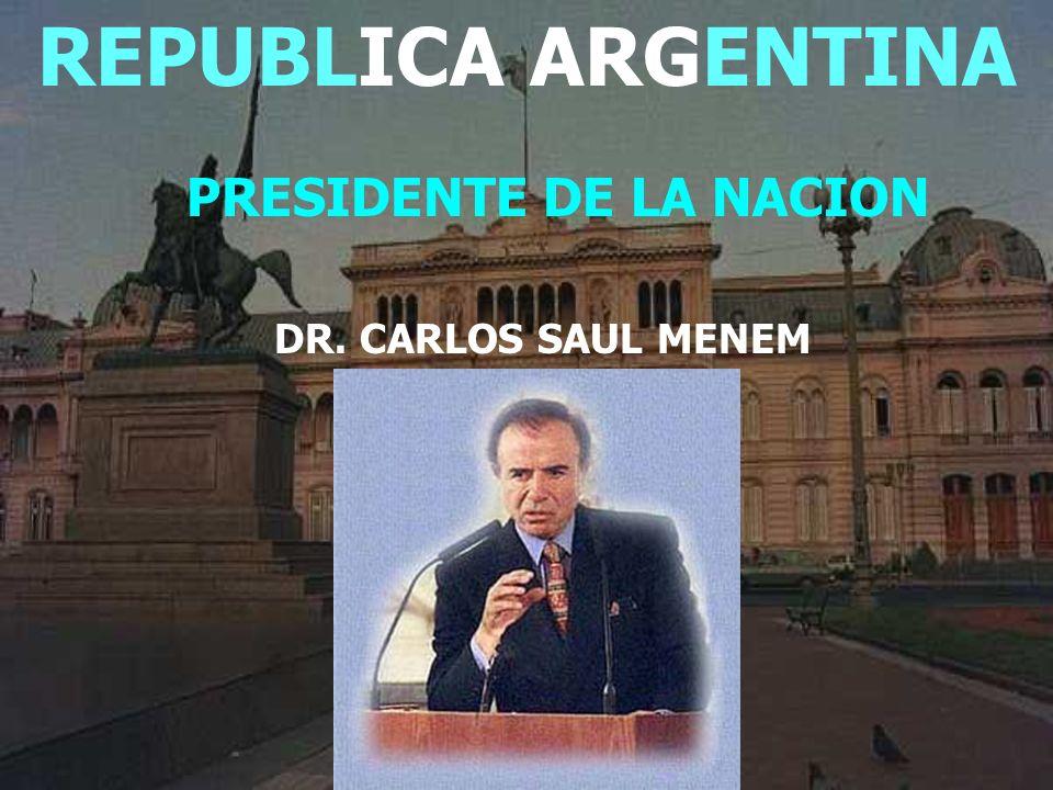 REPUBLICA ARGENTINA SUPERFICIE:3.761.274 Km. 2 HABITANTES:35.219.612 LONGITUD N/S:3.799 Km.