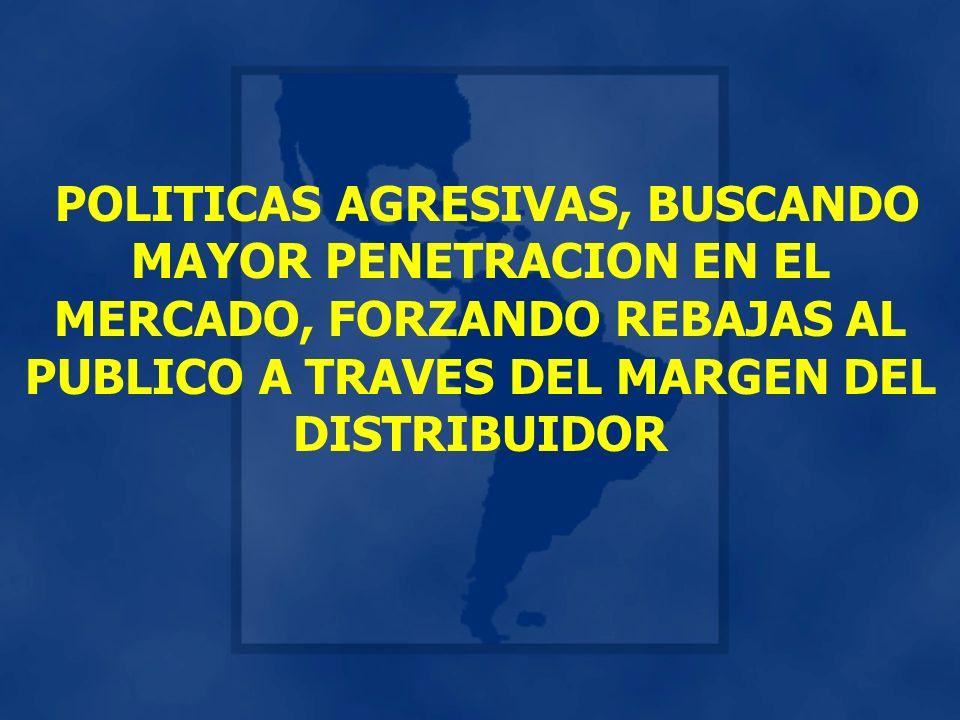 POLITICAS AGRESIVAS, BUSCANDO MAYOR PENETRACION EN EL MERCADO, FORZANDO REBAJAS AL PUBLICO A TRAVES DEL MARGEN DEL DISTRIBUIDOR