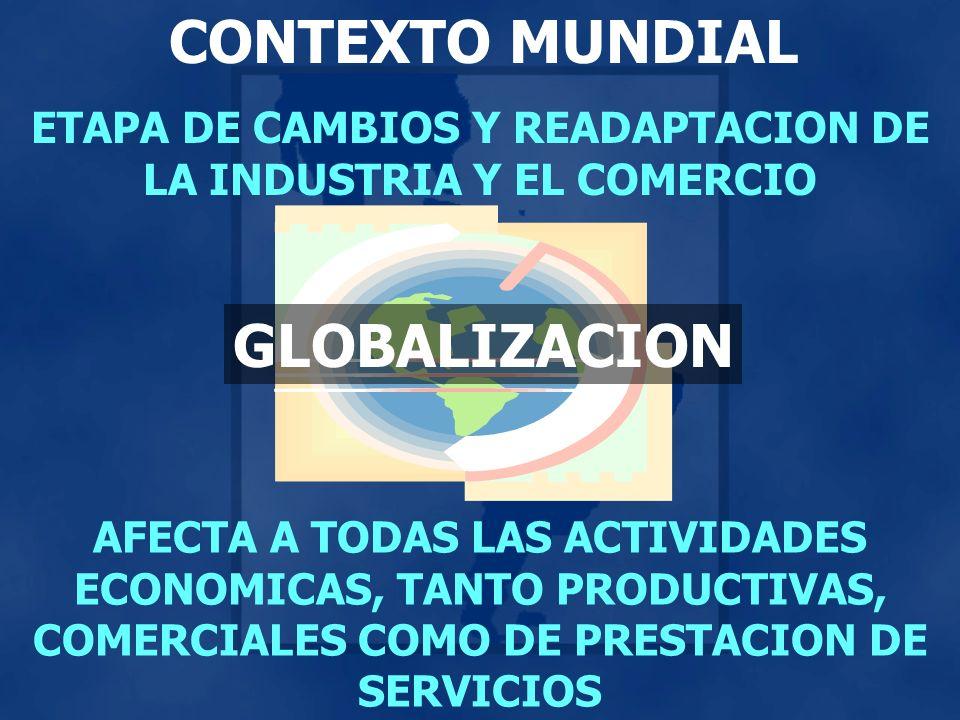CONTEXTO MUNDIAL ETAPA DE CAMBIOS Y READAPTACION DE LA INDUSTRIA Y EL COMERCIO AFECTA A TODAS LAS ACTIVIDADES ECONOMICAS, TANTO PRODUCTIVAS, COMERCIAL