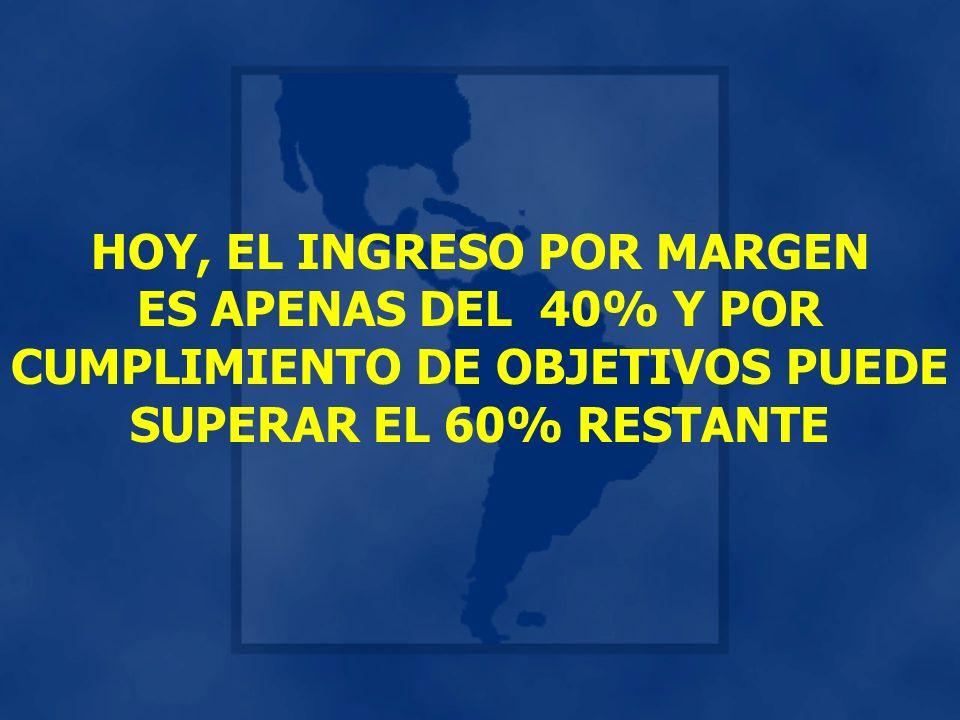 HOY, EL INGRESO POR MARGEN ES APENAS DEL 40% Y POR CUMPLIMIENTO DE OBJETIVOS PUEDE SUPERAR EL 60% RESTANTE
