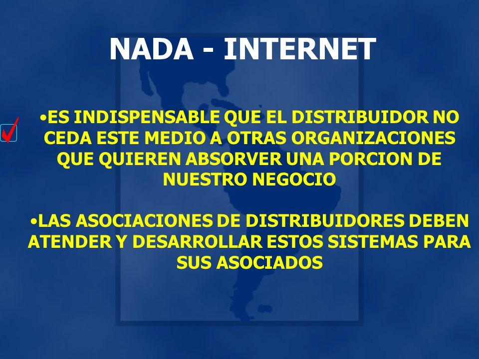 NADA - INTERNET ES INDISPENSABLE QUE EL DISTRIBUIDOR NO CEDA ESTE MEDIO A OTRAS ORGANIZACIONES QUE QUIEREN ABSORVER UNA PORCION DE NUESTRO NEGOCIO LAS